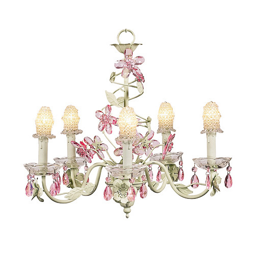 Crystal+Flower+5+Light+Chandelier+in+Soft+Green+and+Pink