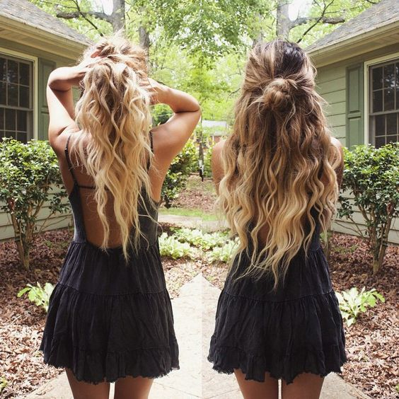 beach waves and half up messy bun