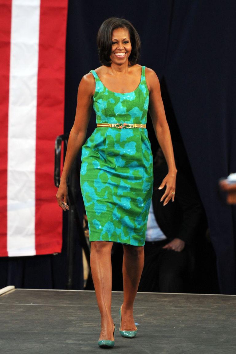 michelle-obama-green-blue-dress