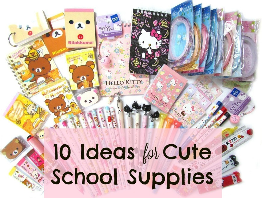 Ideas for school supplies, back to school, girls, cute, Hello Kitty, Pusheen